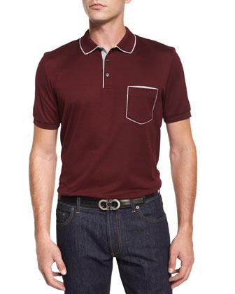 Tipped Pocket Polo Shirt, Wine