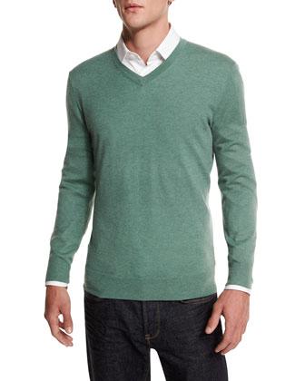 Cashmere-Silk V-Neck Sweater, Green