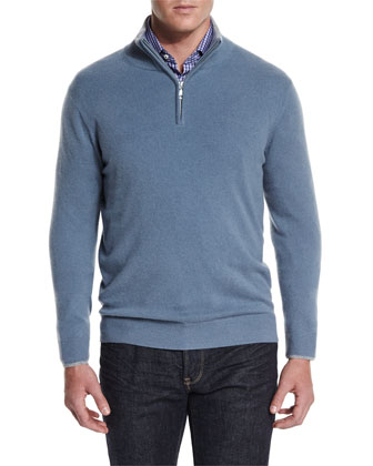 Cashmere Half-Zip Pullover Sweater, Blue