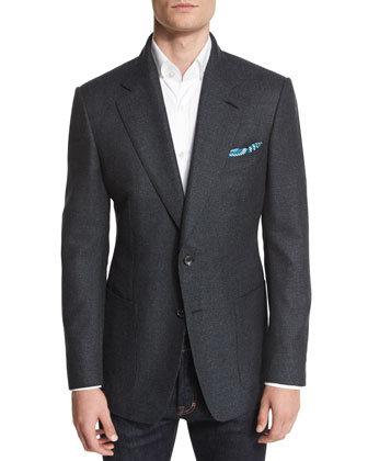 Windsor Base Textured Melange Blazer, Navy/Teal