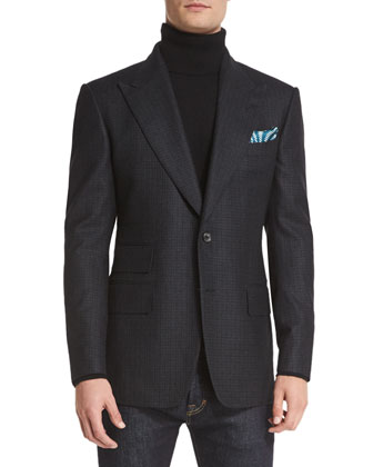 Windsor Base Small-Check Sport Coat, Charcoal