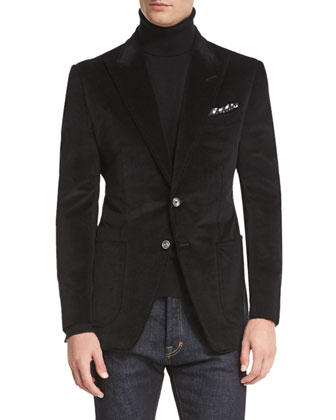 O'Connor Base Corduroy Sport Jacket, Black