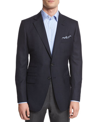 O'Connor Base Mini-Check Sport Jacket, Navy