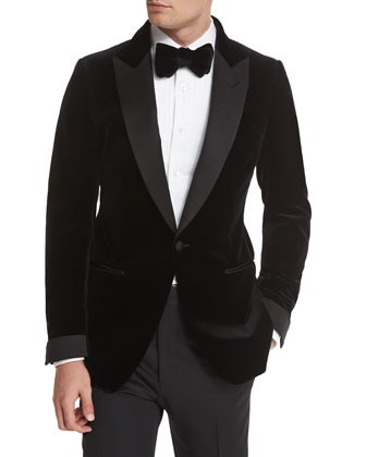 Buckley Base Peak-Lapel Tuxedo Jacket, Black