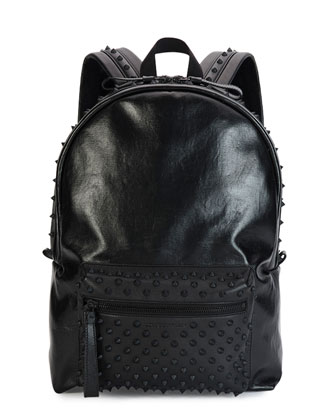 Tonal Studded Leather Backpack, Black
