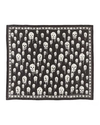 Dripping Skull-Print Silk Scarf, Gray/Brown
