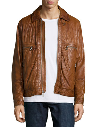 Exeter Leather Trucker Jacket, Brown