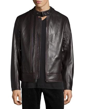 Windsor Leather Racer Jacket, Dark Brown