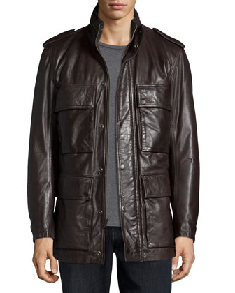 Tompkins Utility-Pocket Leather Jacket, Dark Brown