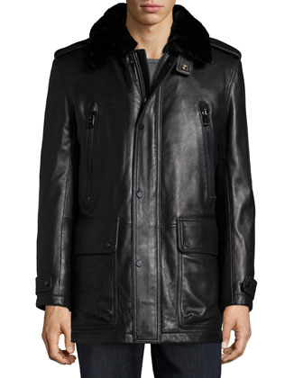 Ernest Leather Car Coat with Removable Fur-Collar, Black