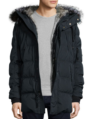 Kent Quilted Down Coat with Removable Fur-Trimmed Hood, Black