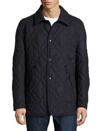 Stafford Diamond-Quilted Jacket, Gray