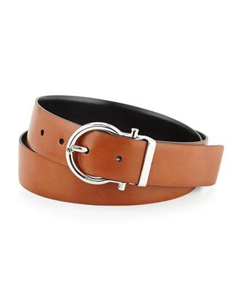 Reversible Gancini Leather Belt, Black/Brown