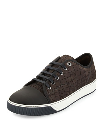 Men's Croc-Embossed Leather Low-Top Sneaker, Gray