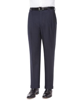 Platinum Wool Dress Pants, Navy