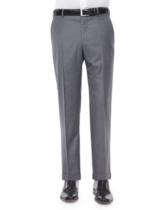 Platinum Flat-Front Dress Pants, Gray