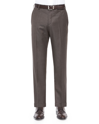 Platinum Flat-Front Dress Pants, Brown
