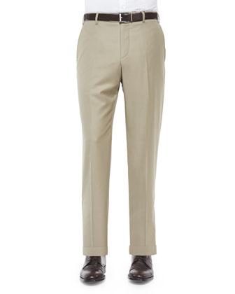 Flat-Front Wool Trousers, Khaki