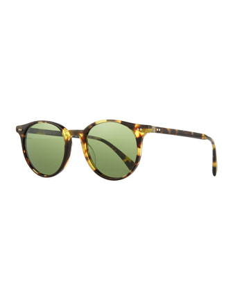 Delray Sun 48 Round Sunglasses, Dark Brown