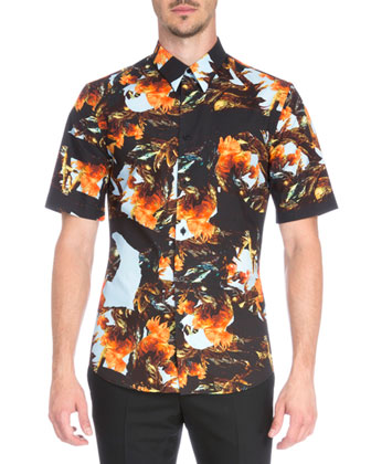 Printed Short-Sleeve Woven Shirt, Orange