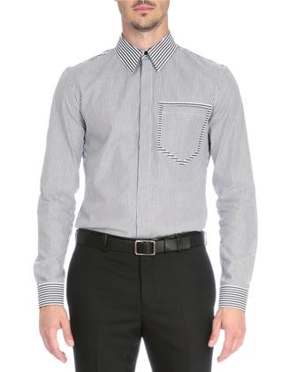 Striped Sport Shirt with Pocket, Black