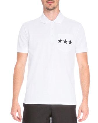 Star-Pocket Short-Sleeve Polo Shirt, White