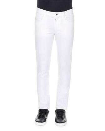 Five-Pocket Stretch Slim Jeans, White