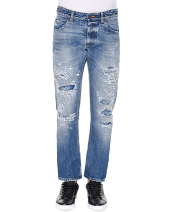 Distressed Medium-Wash Denim Jeans, Medium Blue