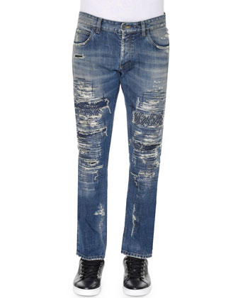Super-Distressed Slim-Fit Denim Jeans, Medium Blue