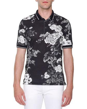 Rose-Print Pique Polo Shirt, Black/White