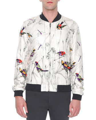 Multi-Bird Print Silk Bomber Jacket, Gray Pattern