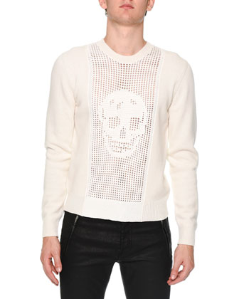 Perforated-Skull Long-Sleeve Sweater, Ivory