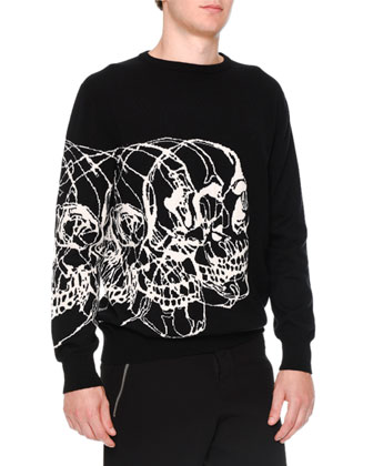 Intarsia Skull-Print Crewneck Sweater, Black/White