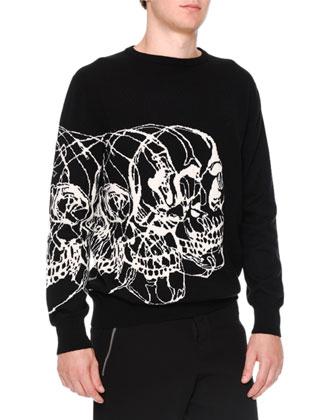 Intarsia Skull-Print Crewneck Sweater, Black/White