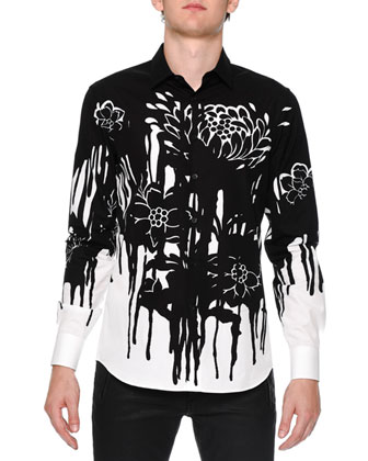 Dripping Flower-Print Woven Shirt, Black/White