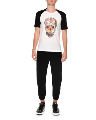 Skull-Print Raglan Sleeve Shirt, White/Black