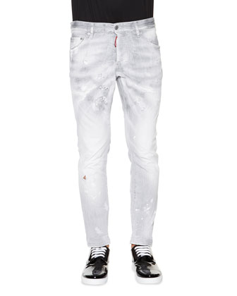 Cool Guy Distressed Skinny Jeans, Gray