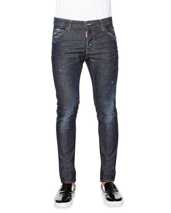 Cool Guy Distressed Denim Jeans, Dark Blue