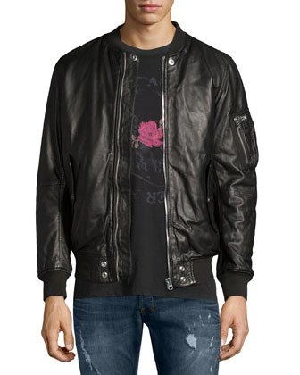 Leather Bomber Jacket, Skull & Rose Graphic Short-Sleeve Tee & Safado ...