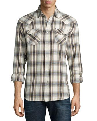 Check Long-Sleeve Flannel Shirt & Sleenker Skinny-Leg Denim Jeans