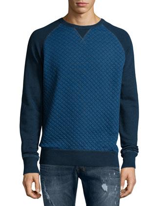 Quilted Fleece Crewneck Sweater, Navy