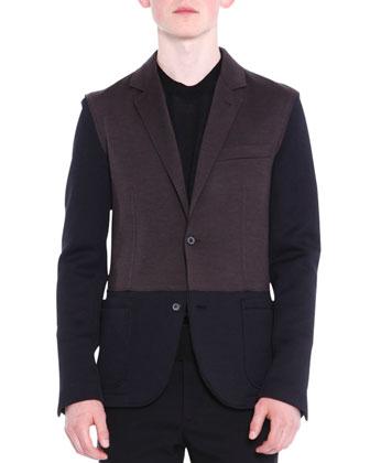 Colorblock Two-Button Knit Blazer, Black/Brown