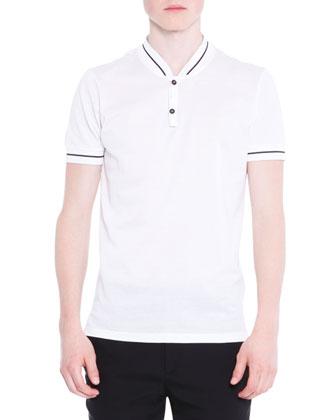 Baseball-Collar Short-Sleeve Polo Shirt, White