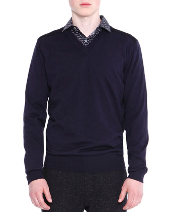 V-Neck Sweater with Mesh Shoulder, Navy