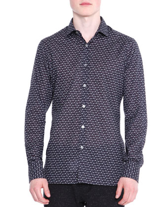 Large Herringbone-Print Woven Shirt, Black/Blue