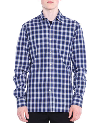 Shadow-Plaid Long-Sleeve Shirt, Black/Blue