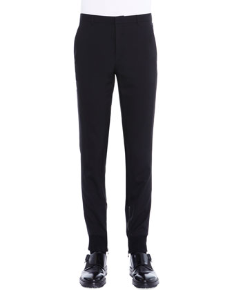 Ankle-Zip Flat-Front Biker Pants, Black