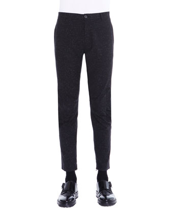 Melange Ankle-Zip Biker Pants, Black