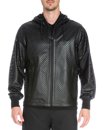 Perforated Leather Zip-Up Jacket, Black