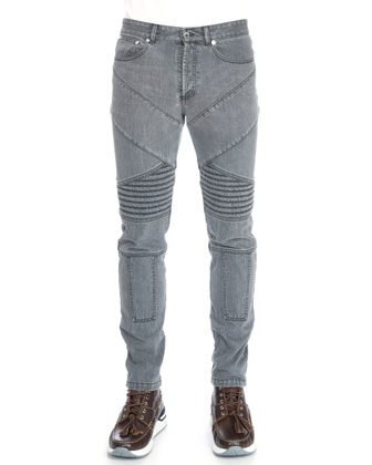 Slim-Fit Moto Denim Jeans, Gray